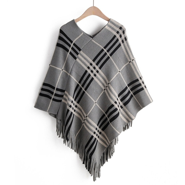 Autumn and winter new loose V-neck plaid shawl sweater NHJC186655