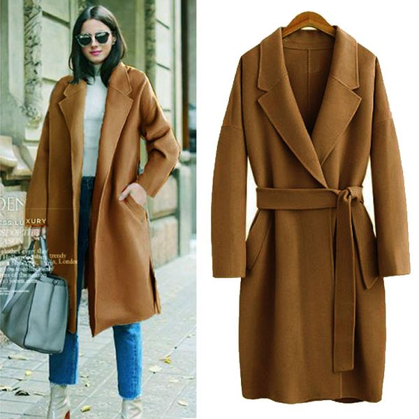 Autumn and winter new loose large size solid color long woolen coat NHJC186656