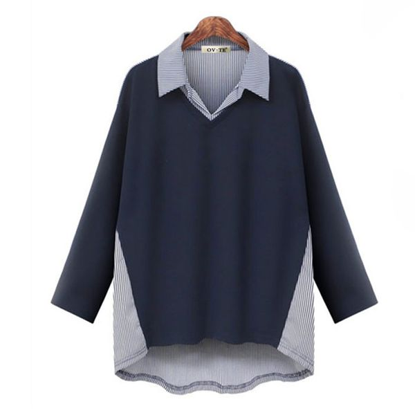 Autumn dress fake two pieces of two-color striped stitching loose large size shirt NHJC186657