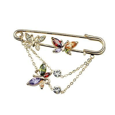 Exquisite diamond zircon butterfly crystal brooch NHLJ186442's discount tags