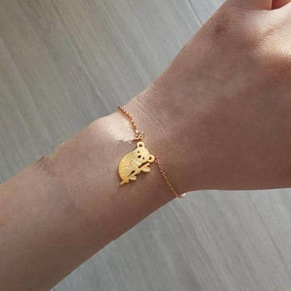 Cute Animal Koala Bear Pendant Bracelet Anklet Gold Silver Bracelet Wholesale NHCU186571