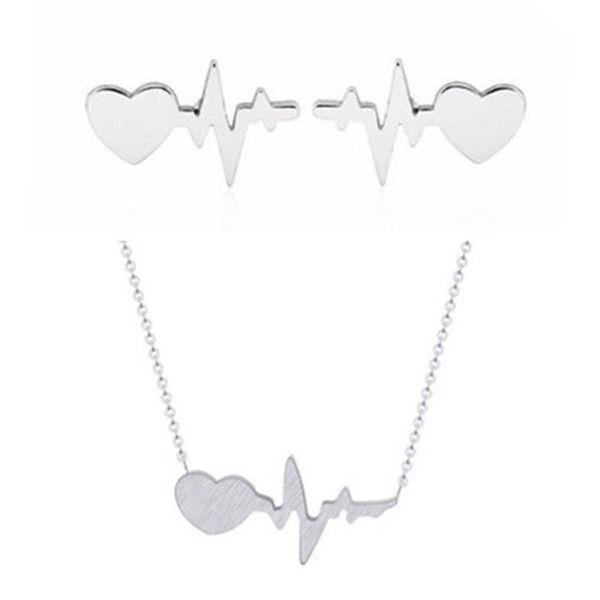 Best selling lightning peach heart electrocardiogram earring necklace set current earrings NHCU186587