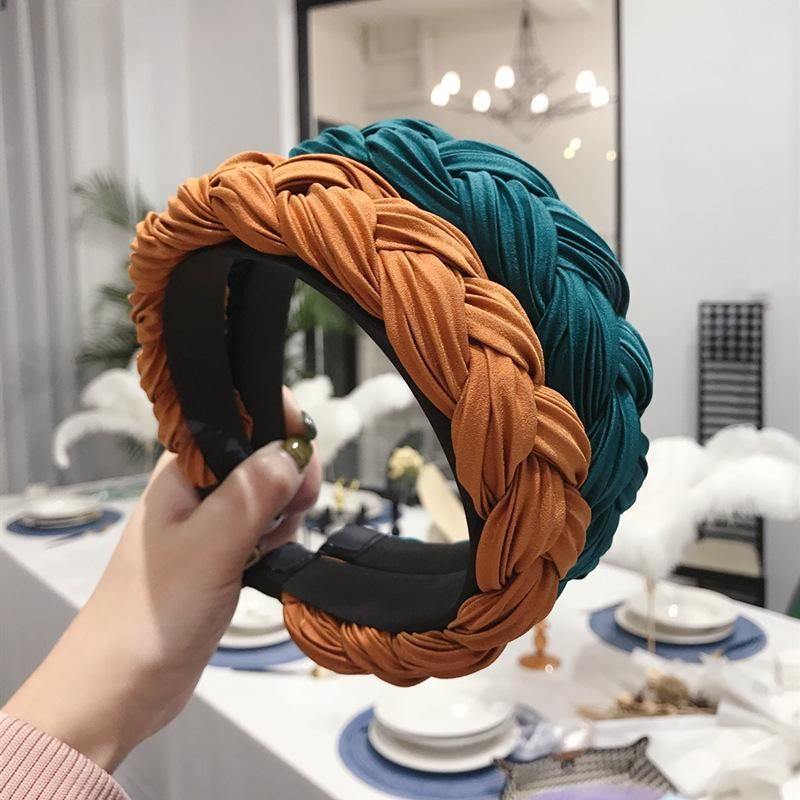 Explosion style hair accessories solid color pleated fabric twist braids wide-band hair hoop NHSM186319