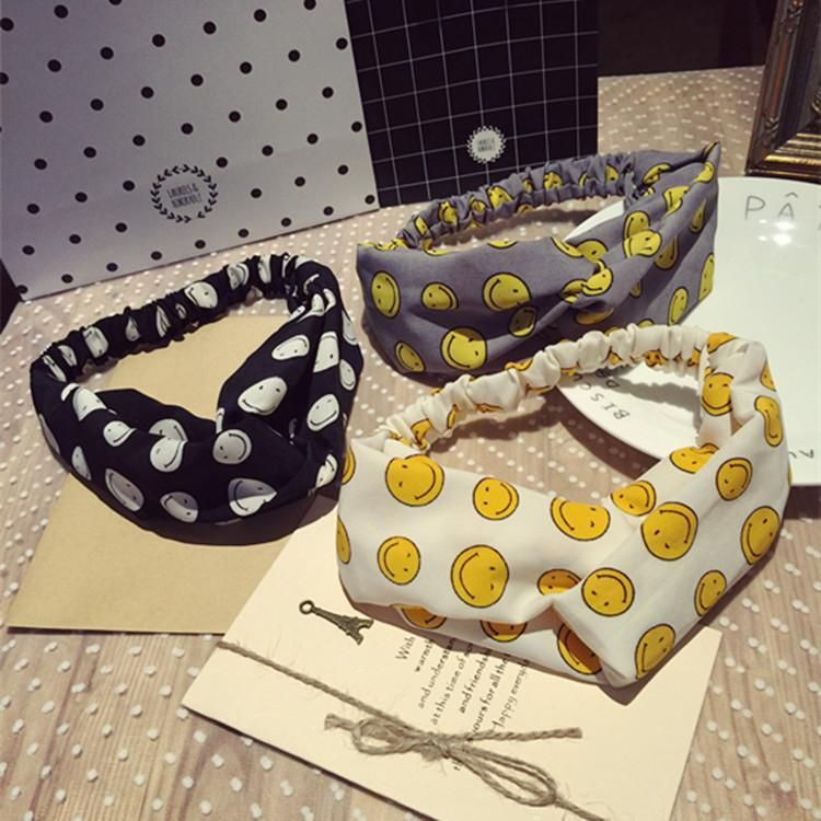 Korean version of the printed hair hoop fabric smiley face cross elastic elastic wide edge hair band NHSM186321