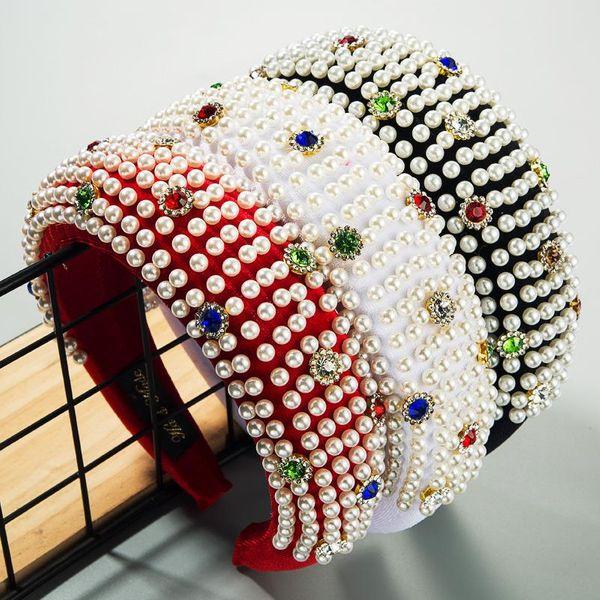 Women's new headband hoop inlaid with colorful diamonds handmade pearl high-grade fabric sponge headband NHLN186560