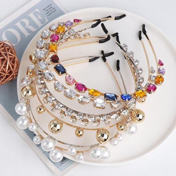 Pearl rhinestone hair hoop thin headband hairpin hair accessories women NHJJ186627