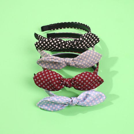 Hot-selling cloth hair hoop bow hair accessories wave point wild temperament headband NHMD186609's discount tags