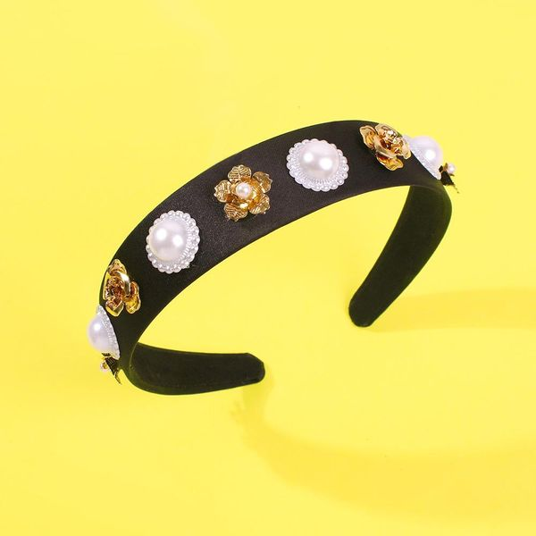 Personalized hair hoop female exaggerated pearl flower headband pressed hair crown wide edge retro hair accessories NHMD186616