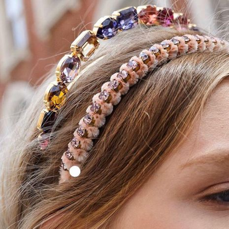 Alloy diamond glass colored diamond hair hoop hair accessories non-slip simple pressure temperament headband NHMD186619's discount tags