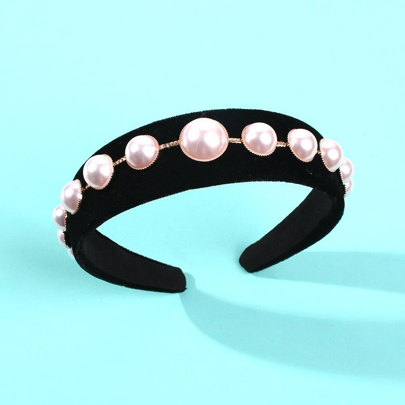 Retro round pearl hair hoop female simple Venus temperament hair accessories wide edge hairpin headband new NHMD186621
