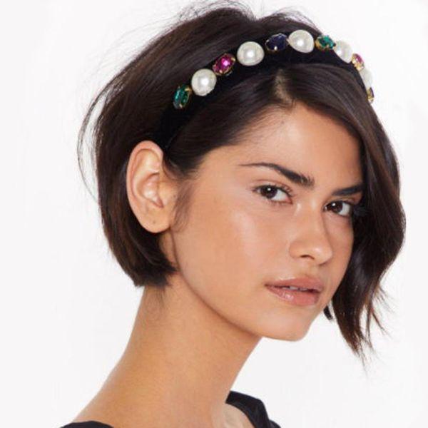 Vintage diamond geometric hair hoop female luxury court style thick sponge wide-edged hair accessory NHMD186624