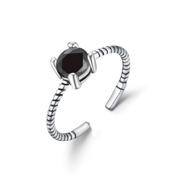 S925 Tibetan silver ring vintage black zircon index finger open men and women ring NHIM186394