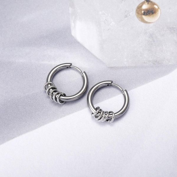 Hip-hop earrings stainless steel earrings hipster trendy jewelry NHIM186361
