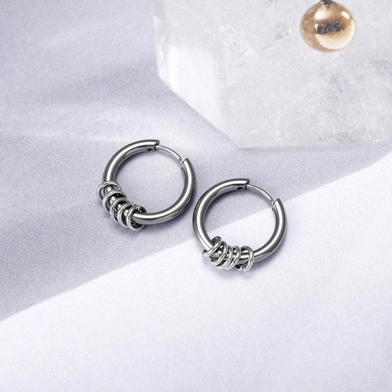 Hip-hop earrings stainless steel earrings hipster trendy jewelry NHIM186361