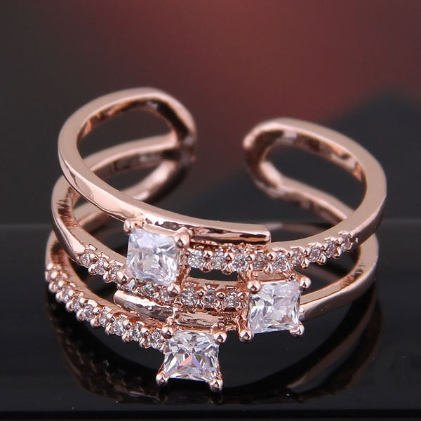 Fashion Sweet OL Copper Inlaid Zircon Simple Open Ring NHSC186638