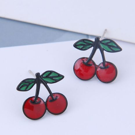 925 Silver Needle Delicate Korean Fashion Sweet OL Cherry Personality Earrings NHSC186646's discount tags