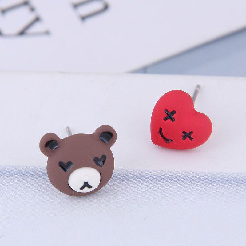 925 Silver Needle Delicate Korean Fashion Sweet OL Bear Bear Asymmetric Earrings NHSC186654