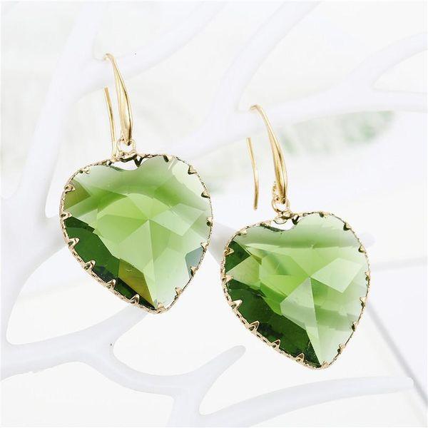 Love crystal earrings temperament multi-faceted heart-shaped beaded glass earrings NHGO186506