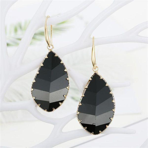 Simple Irregular Geometric Drop-shaped Crystal Earrings Multi-faceted Feather Leaf-shaped Bezel Glass Earrings NHGO186507