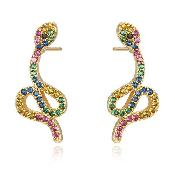 Vintage Fashion Glamour Mini Colored Zircon Snake Ear Studs NHGO186510