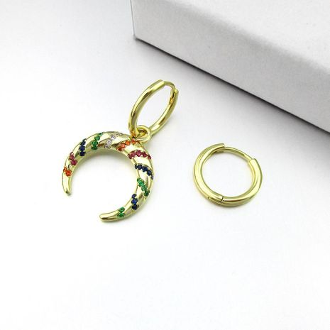 New Asymmetric Colorful Striped Earrings With Hoop Female Crescent Curved Earrings NHLJ186427's discount tags