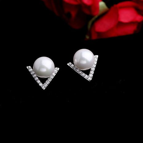 Korean fashion V-shaped stud pearl earrings NHLJ186450's discount tags