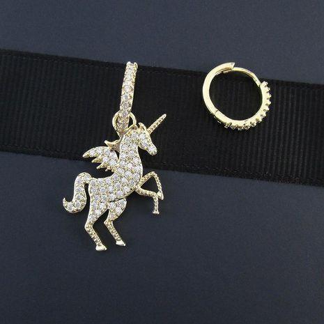 New copper zircon asymmetric unicorn ear hoop earrings women fashion earrings wholesale NHLJ186458's discount tags