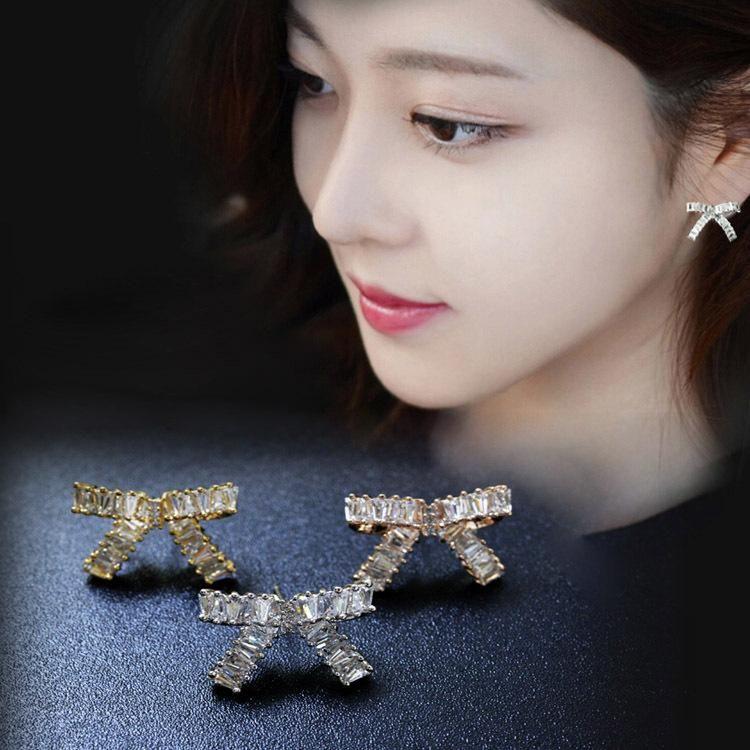 Personalized fashion womens earrings Korean bow microinlaid zircon earrings female 925 sterling silver ear needles NHLJ186462