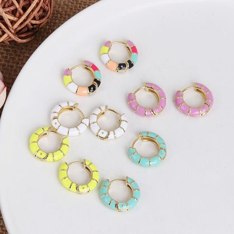 Simple personality metal C-shaped earrings women color stitching earrings NHJJ186630's discount tags