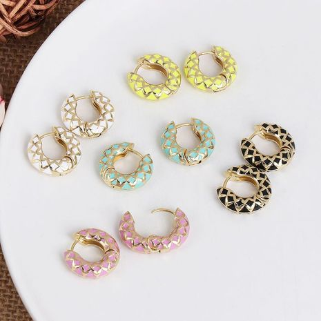 Simple personality metal C-shaped earrings women color stitching earrings NHJJ186631's discount tags