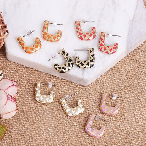 Simple personality metal C-shaped earrings women color stitching earrings NHJJ186633's discount tags