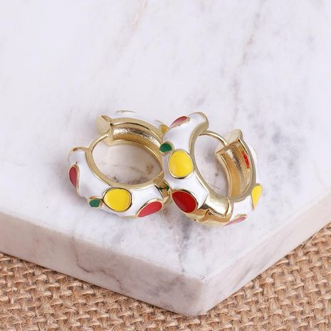 Simple personality metal C-shaped earrings women color stitching earrings NHJJ186634's discount tags