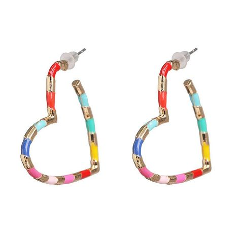 Simple personality metal heart-shaped earrings women color stitching earrings NHJJ186635's discount tags