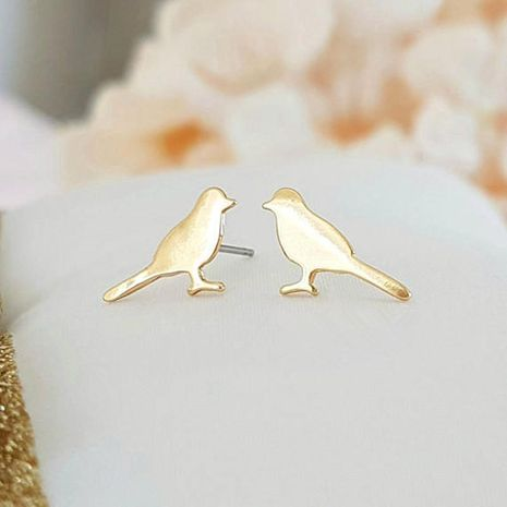 Simple Bird Ear Studs Woodpecker Ear Studs Gold and Silver Rose Chick Ear Studs and Peace Pigeon Ear Studs Wholesale NHCU186580's discount tags