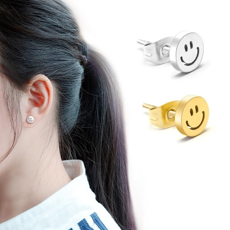 Korean fashion 18K gold-plated titanium steel smile smile earrings titanium steel does not fade earrings NHOK186479