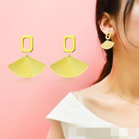 Scallop Earrings Diamond English Letter Earrings Titanium Steel Plated 18K Real Gold Earrings NHOK186484's discount tags