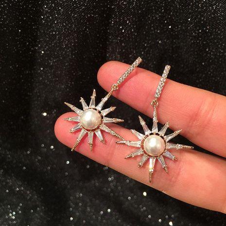 S925 Silver Korean Fashion Eight-Bell Star Earrings Micro-Set Zircon Luxury Pearl Sun Flower Earrings NHWK186534's discount tags