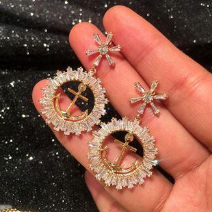 Korean fashion anchor hoop earrings zircon m-shaped earrings NHWK186548's discount tags