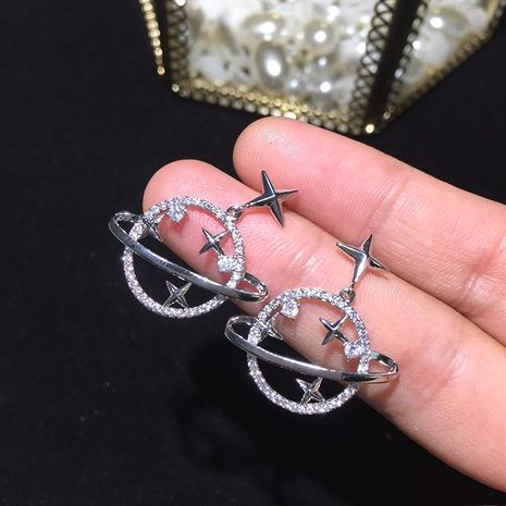 S925 Silver Needle Star Moon Earrings Circle Earrings Planet Earrings NHWK186549's discount tags
