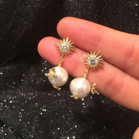 S925 Silver Needle Sun Flower Pearl Bee Earrings NHWK186553's discount tags