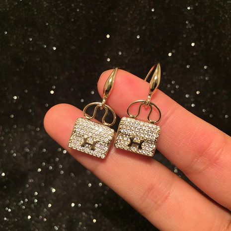 Mini Bag Earrings Luxury Micro-Set Zircon Letter Earrings NHWK186518's discount tags