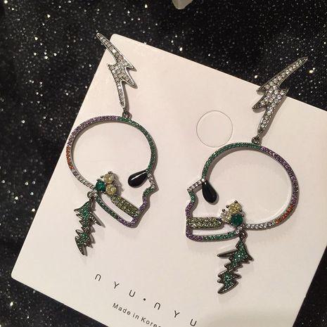 S925 Silver Pin Skull Earrings NHWK186526's discount tags