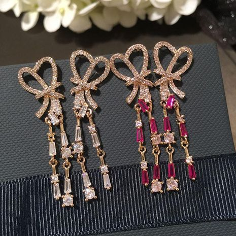 s925 silver pin long fringed bow earrings tie knot design earrings NHWK186529's discount tags