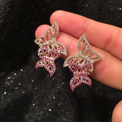 Aretes elegantes Hollow Butterfly S925 Silver Needle NHWK186531's discount tags