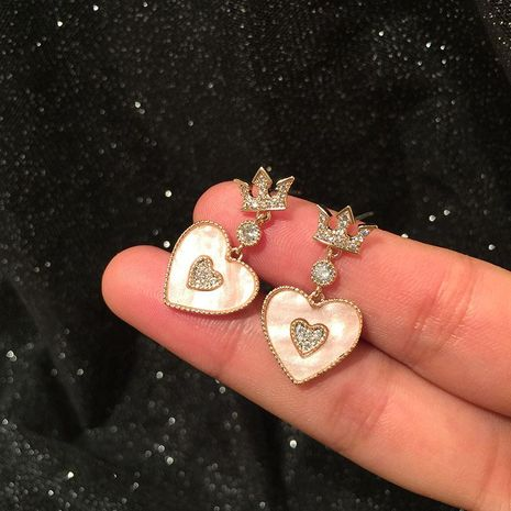 Shell Earrings Crown Love S925 Silver Needle NHWK186532's discount tags