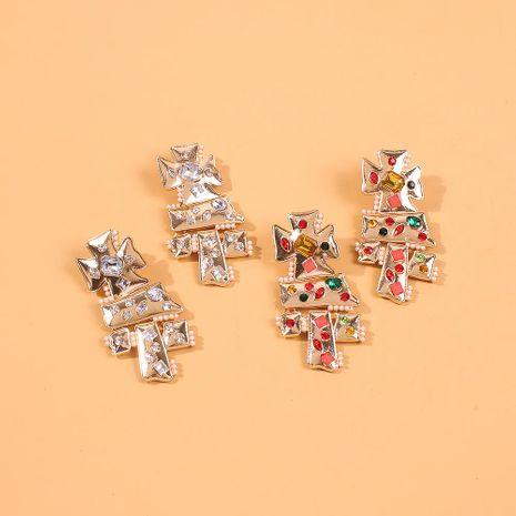 Aretes de diamantes de colores hechos a mano de aleación de perlas hechas a mano de estilo étnico exagerado para mujeres NHMD186601's discount tags