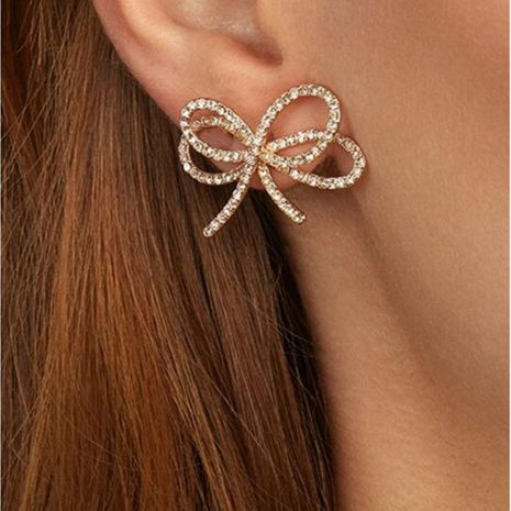 Double bow fashion intertwined minimalist diamond earrings NHMD186613's discount tags