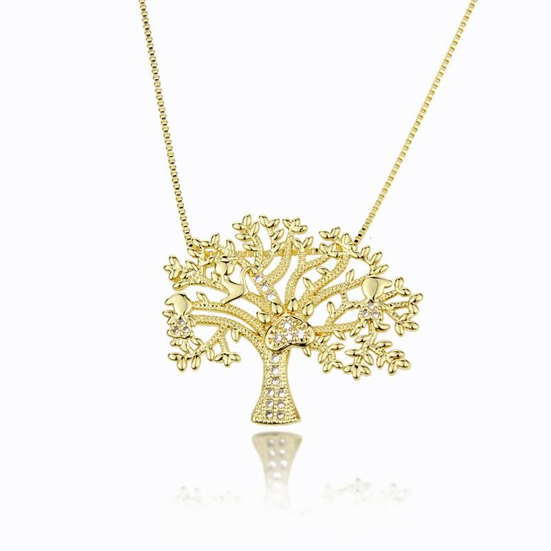 Hot Sale Tree Pendant Fashion New Copper Plated White Zircon Life Tree Necklace NHBP186464