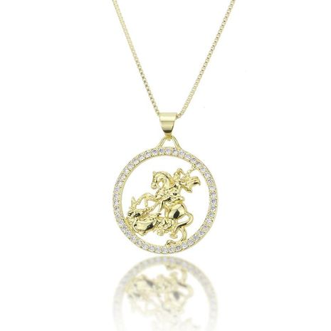 Hot sale knight pendant fashion new brass gold plated white zircon character necklace NHBP186466's discount tags