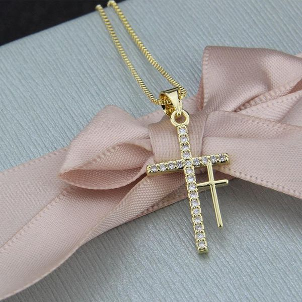 Hot Sale Double Cross Pendant Fashion New Copper Plated White Zircon Religious Necklace NHBP186467